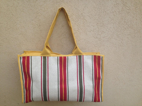 Large striped tote-yellow
