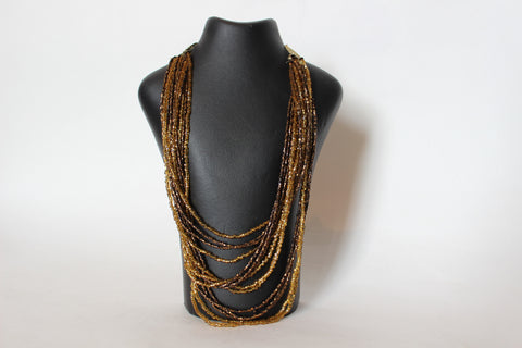 Brown and gold Beaded necklace
