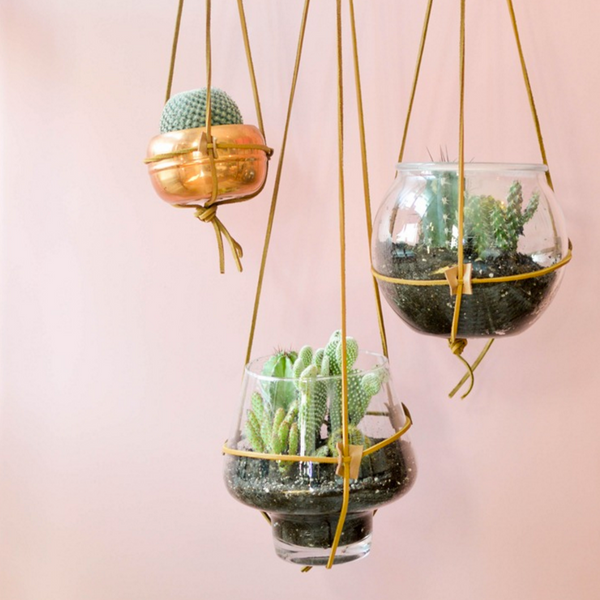 DIY Leather Hanging Planter via Vintage Revivals