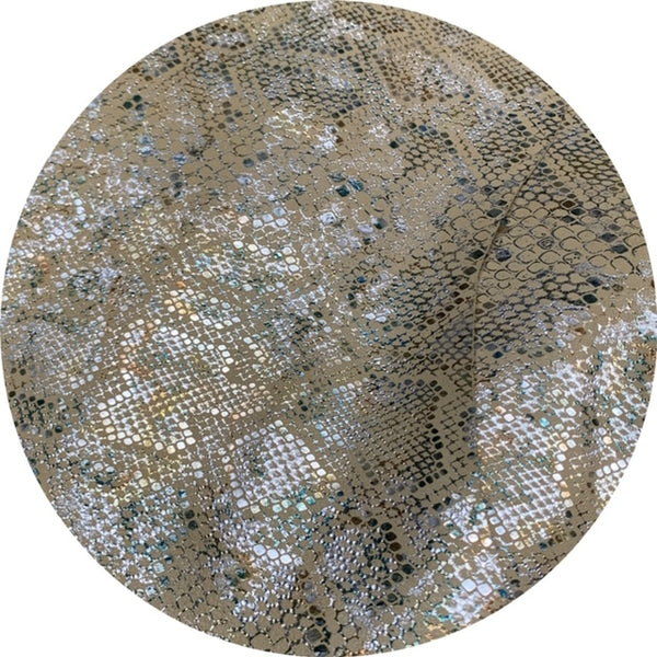 Cream and Sparkle Snakeskin Print Kid Skin