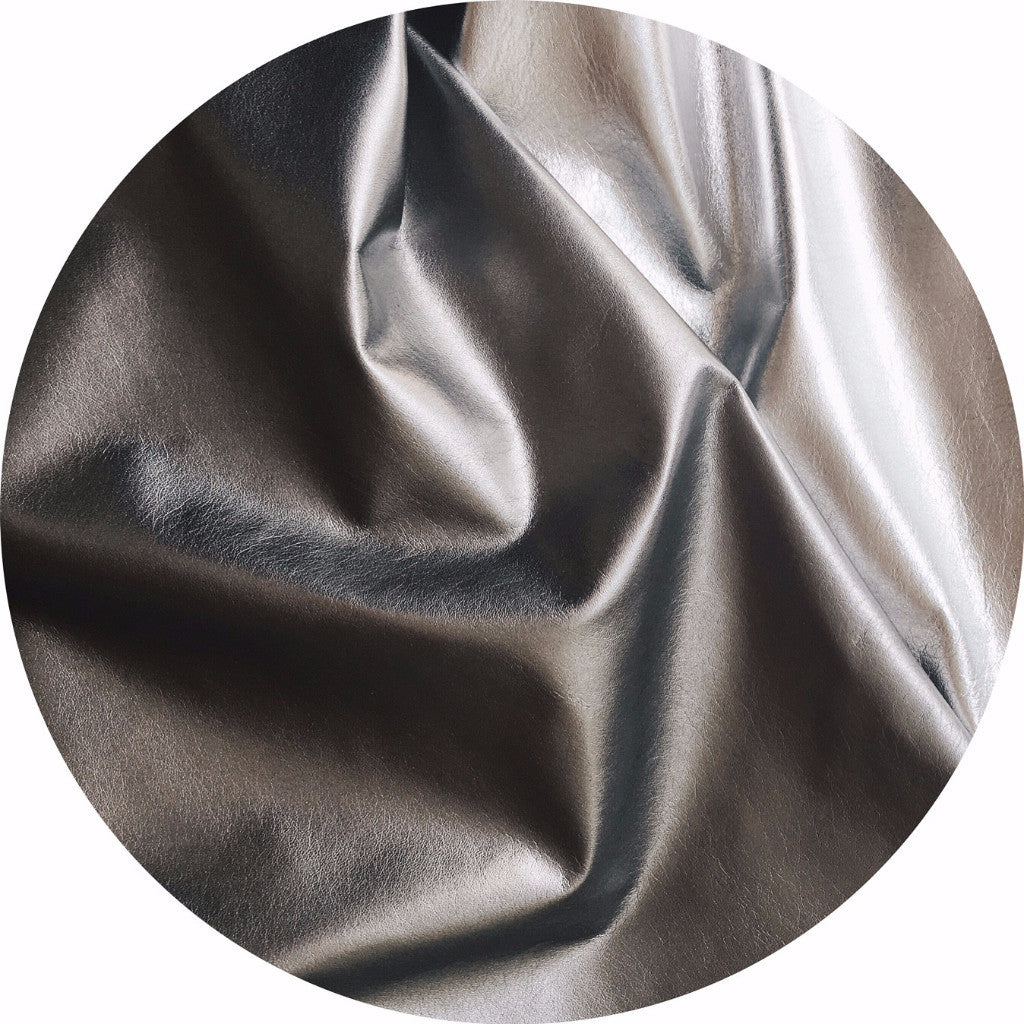 Metallic Dark Silver Foil Lamb Nappa Leather | East Coast Leather, Australia