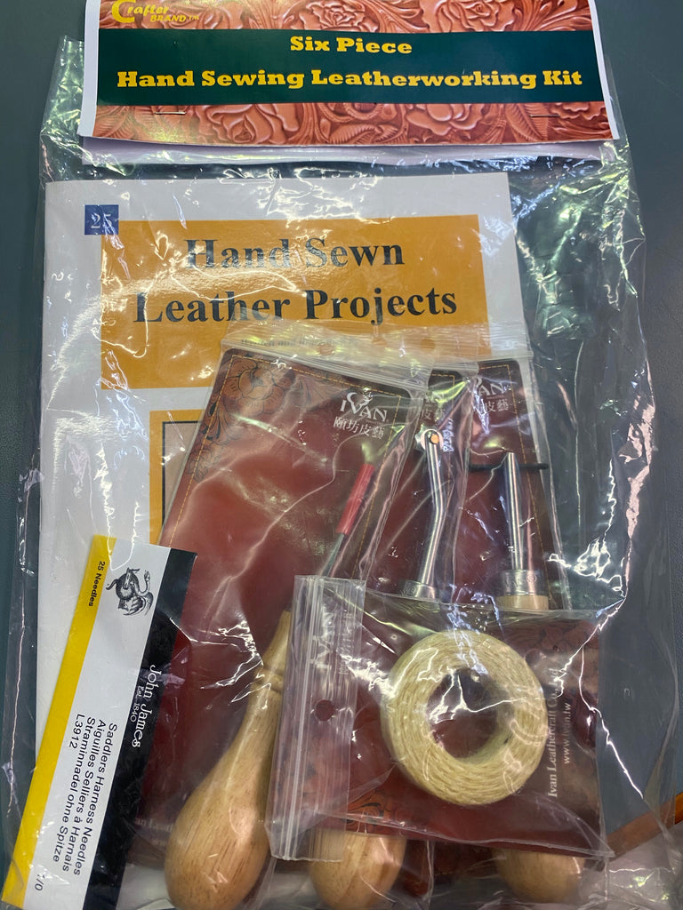 Six piece hand sewing leather working kit - plus 2 x coin purse project