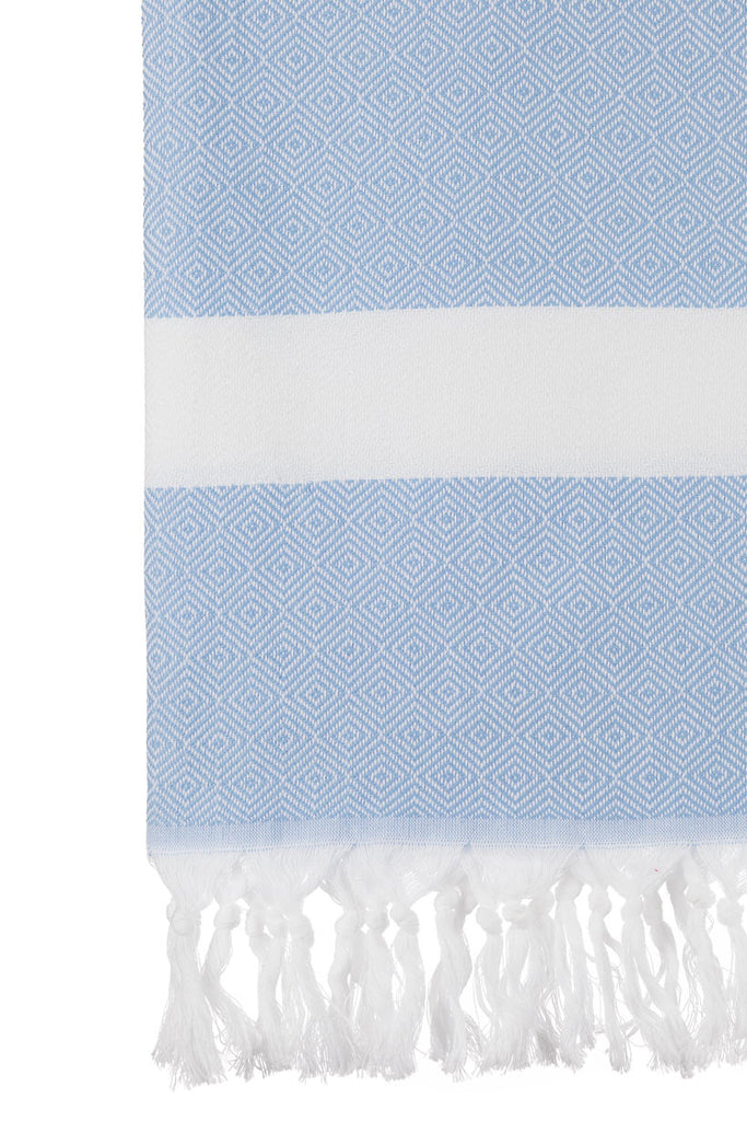 Turkish Towel Co light Blue Diamond Towel