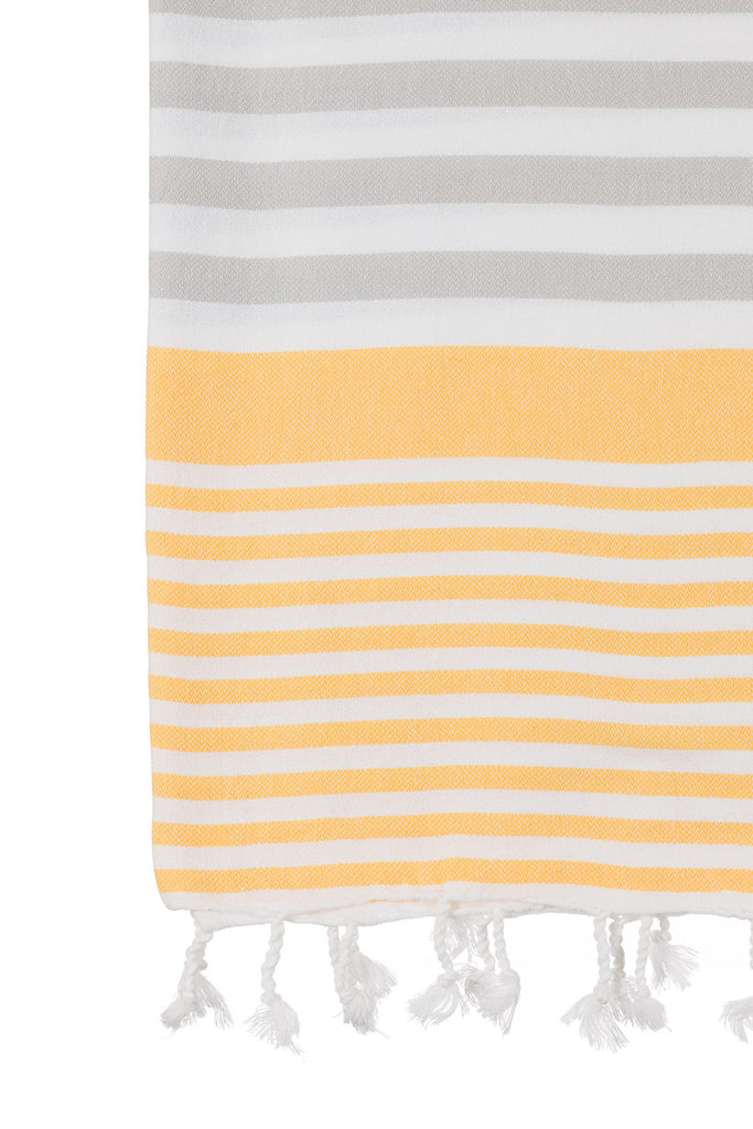 Turkish Towel Co Grey & Yellow Towel