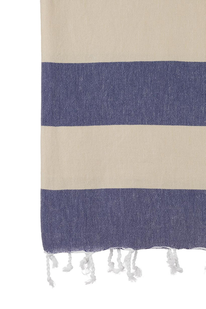 Turkish Towel Co Navy & Beige Towel