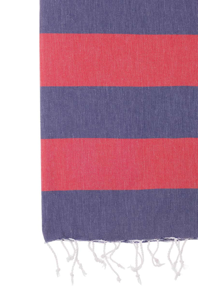 Turkish Towel Co Red & Navy Turkish Towel 100% Cotton Towels