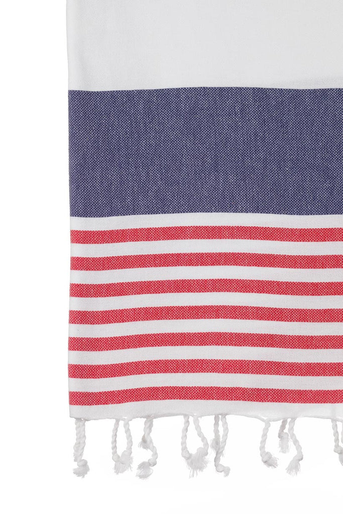 Turkish Towel Co Red Navy Towels