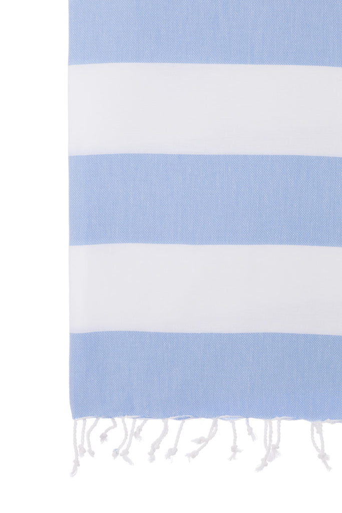 Turkish Towel Co 100% Cotton Turkish Towel Sky Blue & White Buy Online