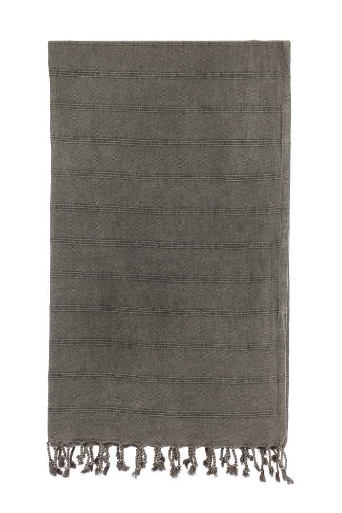 Turkish Towel Co Stonewash Black Turkish Towel