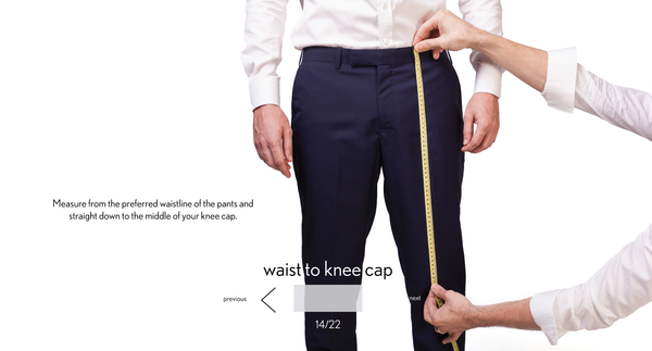 measurement waist to knee made to measure once a day