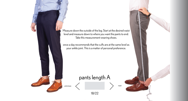 measurement pants A length made to measure once a day
