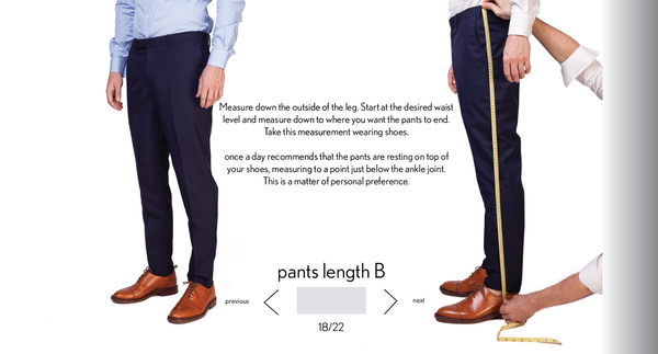 measurement pants B length made to measure once a day