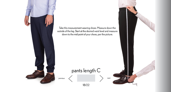 measurement pants C length made to measure once a day