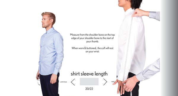 measurement shirt sleeve length made to measure once a day