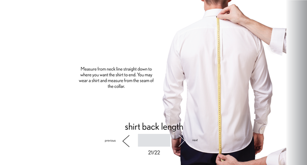 measurement shirt back length made to measure once a day