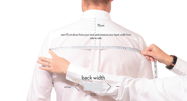 measurement back width made to measure once a day