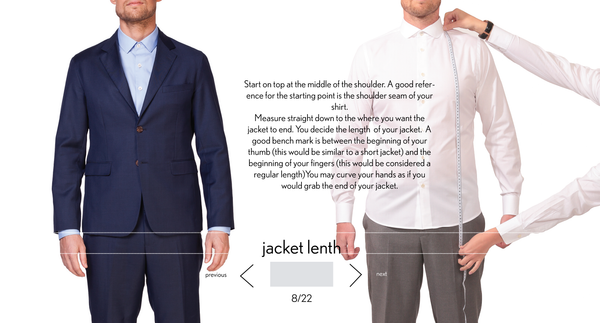 measurement jacket length made to measure once a day