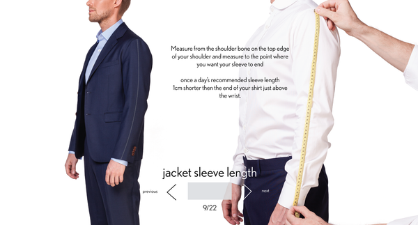 measurement sleeve length made to measure once a day
