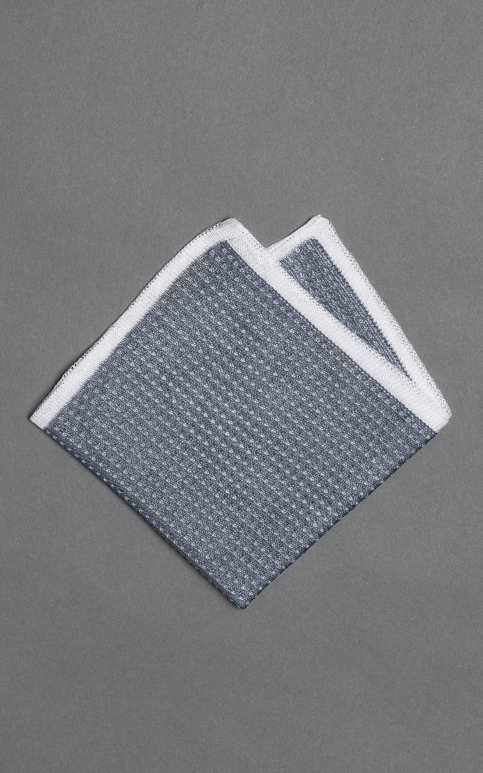 Navy Noise Knitted Cotton Pocket Square