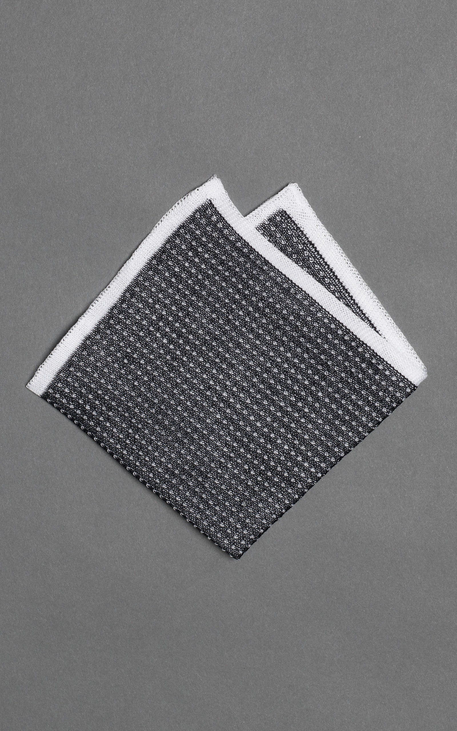 Gray Noise Knitted Cotton Pocket Square