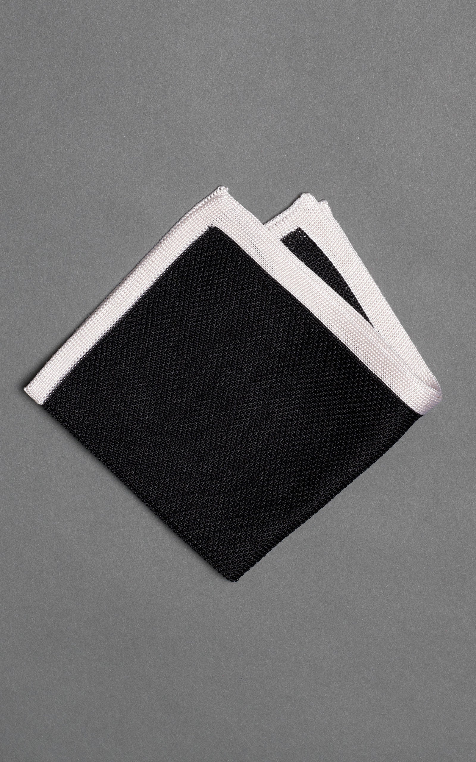 Black Solid Knitted Silk Pocket Square