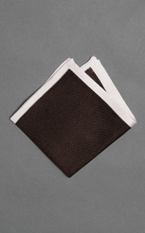 Brown Solid Knitted Silk Pocket Square