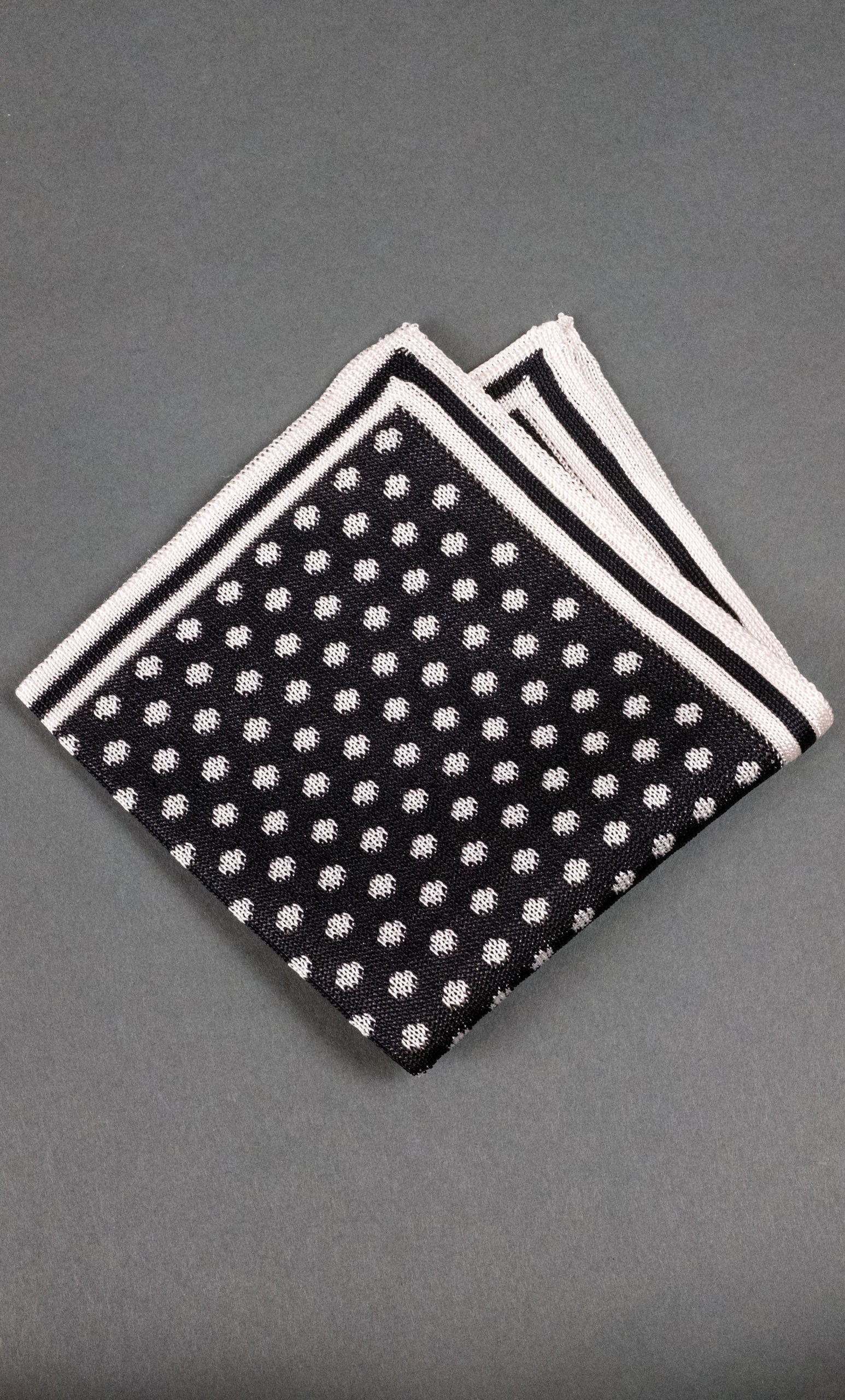 Black With White Dots Knitted Silk Pocket Square
