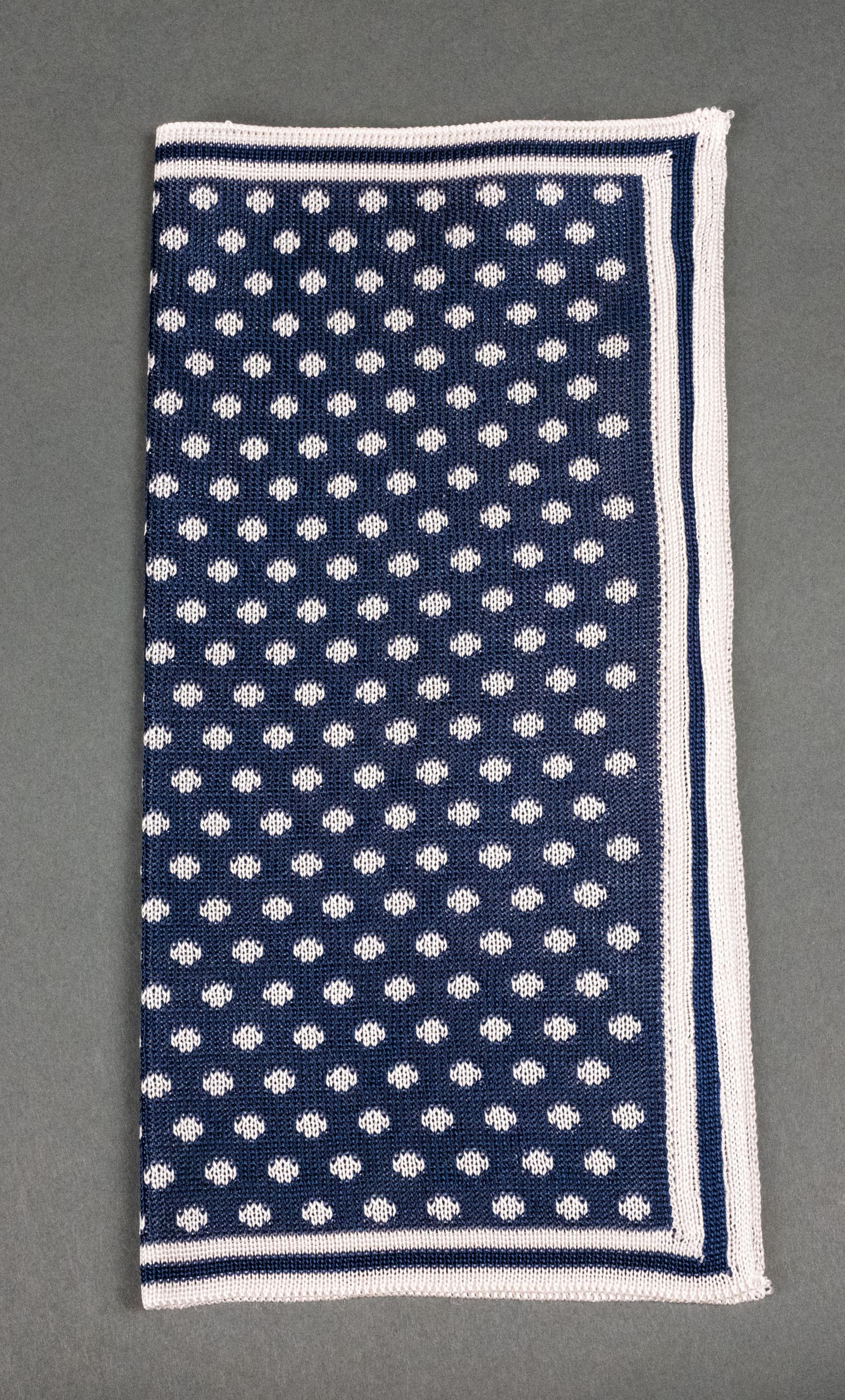 Navy With White Dots Knitted Silk Pocket Square