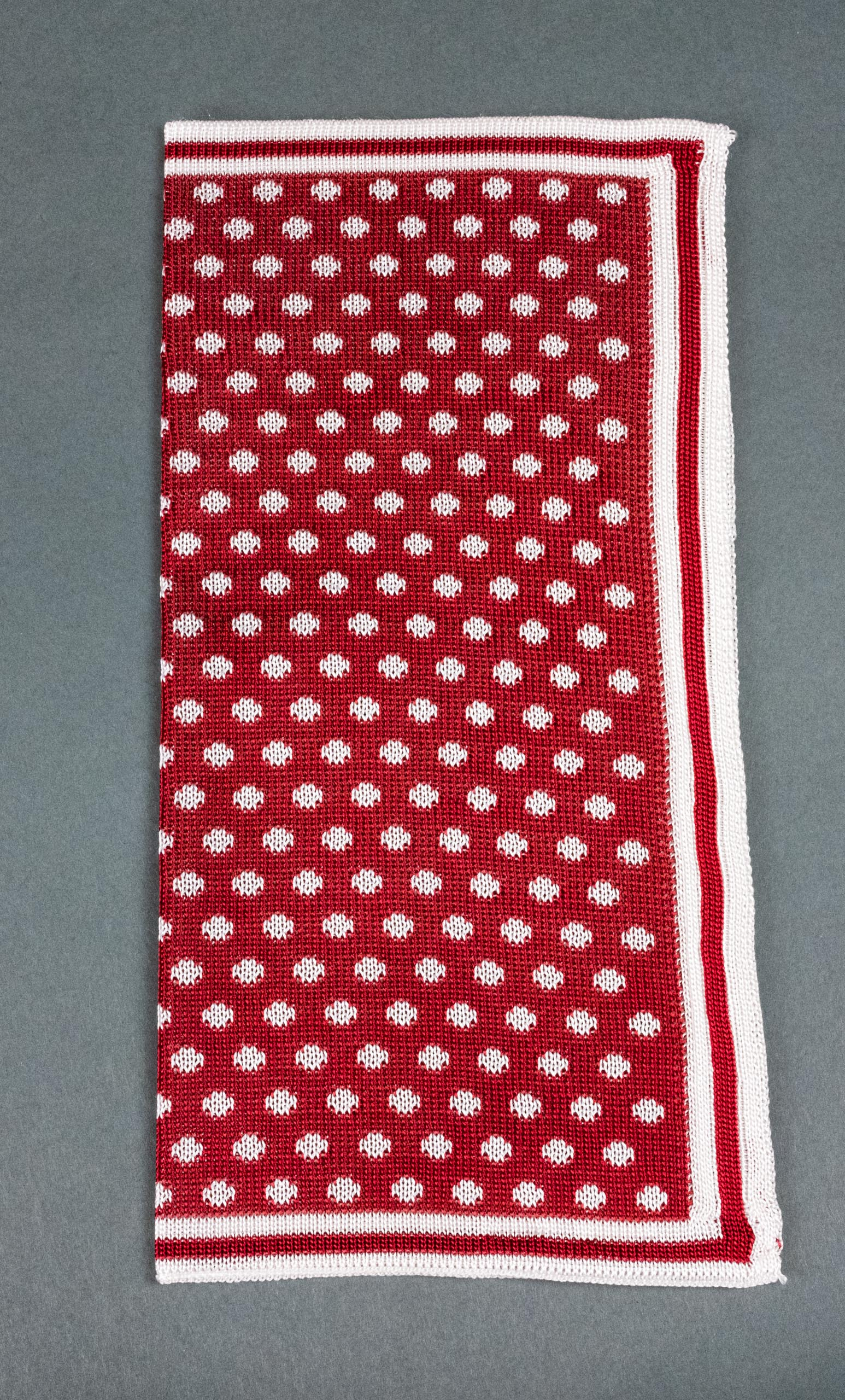 Red With White Dots Knitted Silk Pocket Square