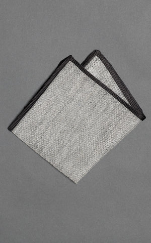 Gray Melange Silk Linen Pocket Square