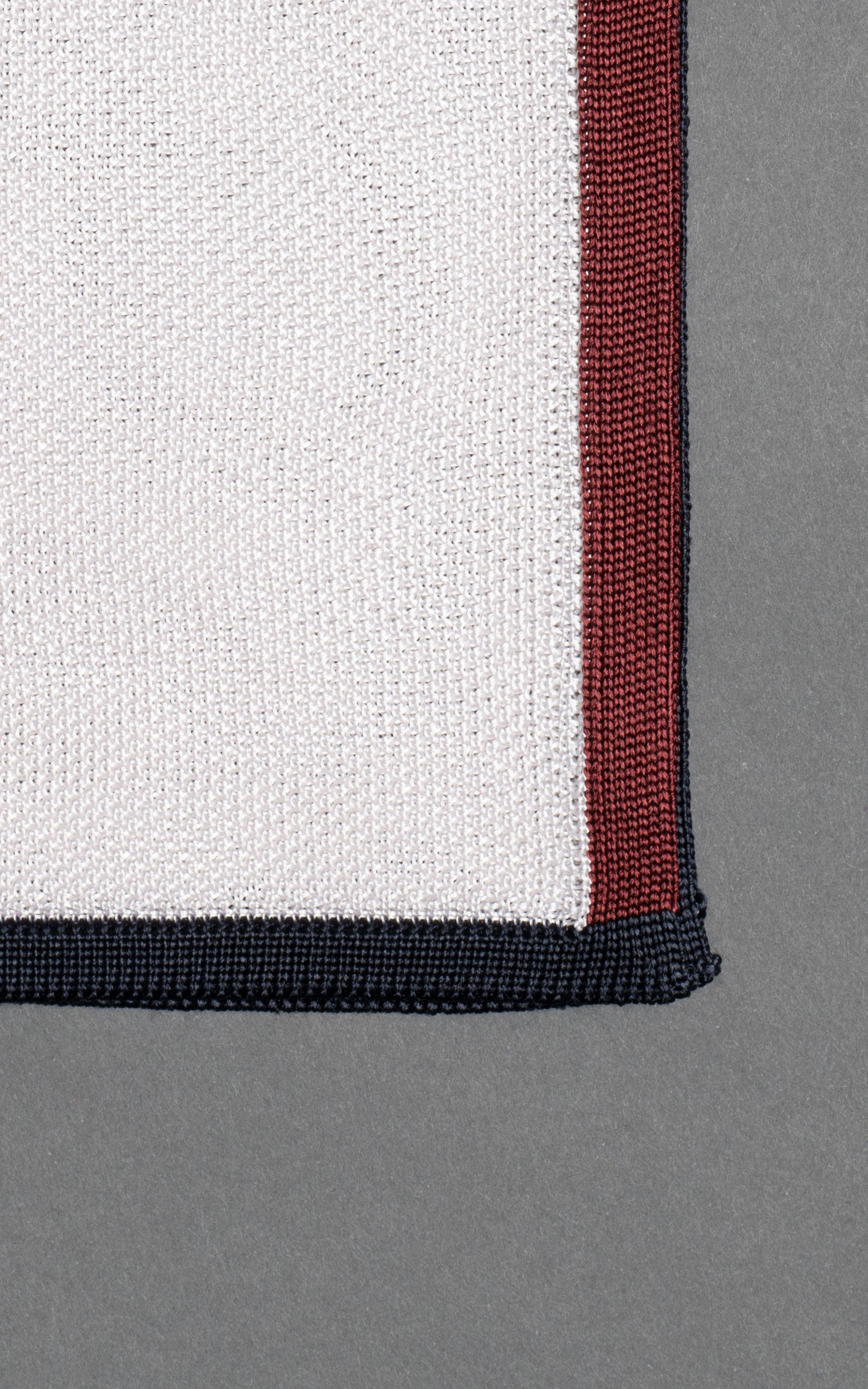 Navy & Maroon Frame Knitted Silk Pocket Square