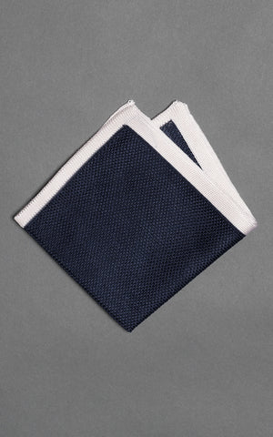 Navy Solid Knitted Silk Pocket Square
