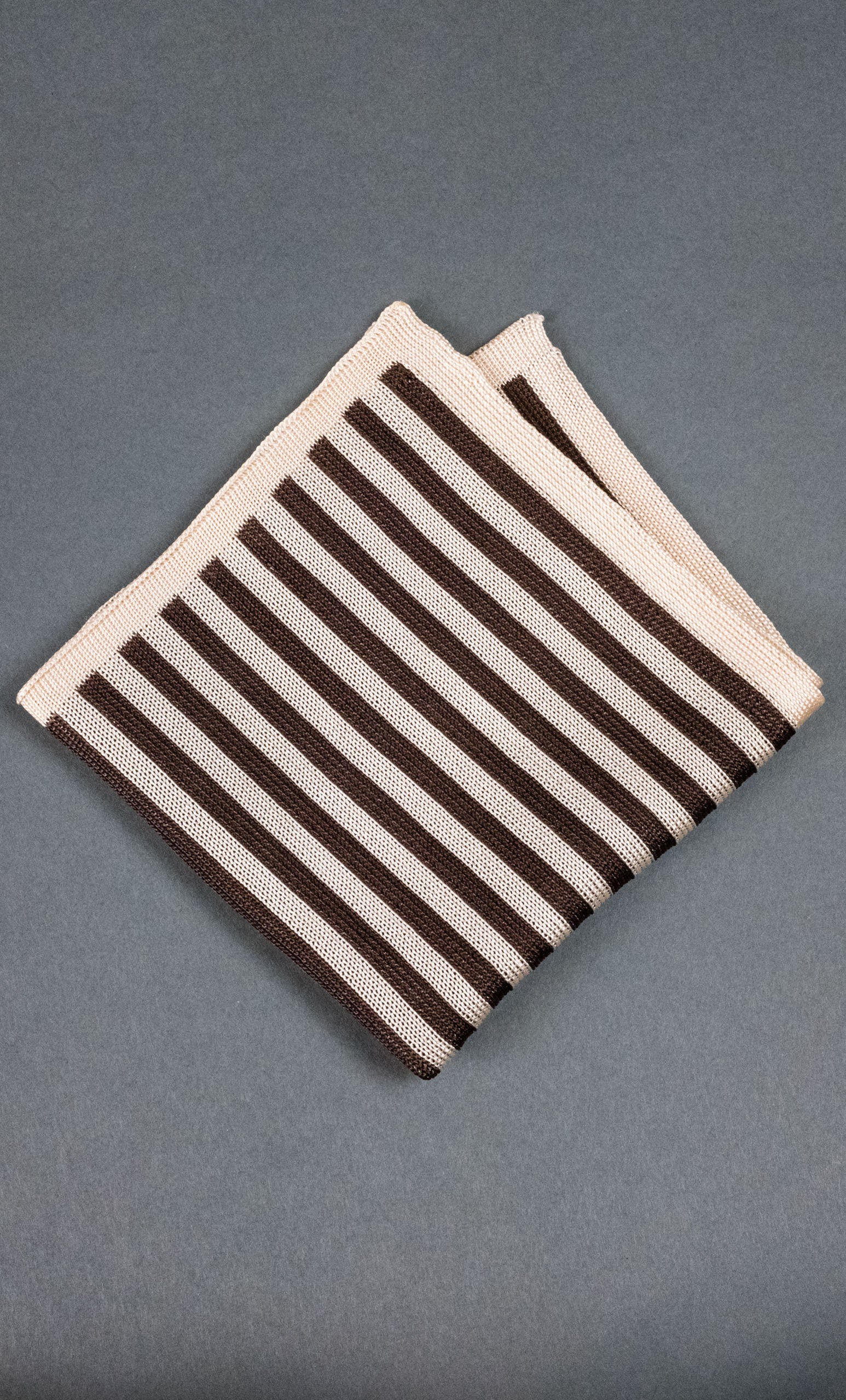 Brown Stripes Knitted Silk Pocket Square