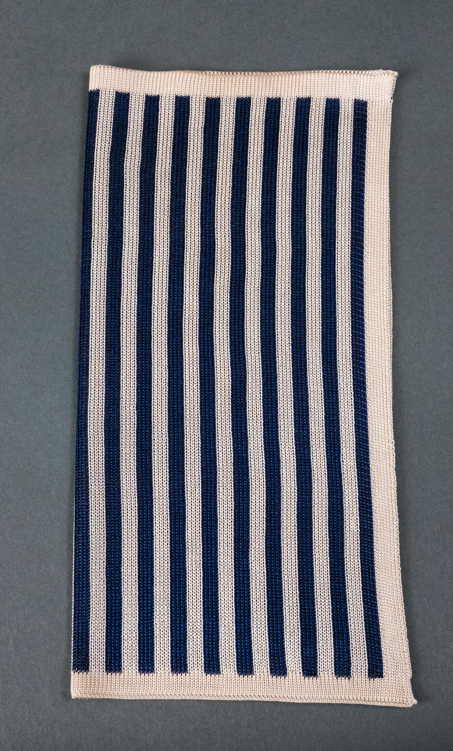 Navy Stripes Knitted Silk Pocket Square