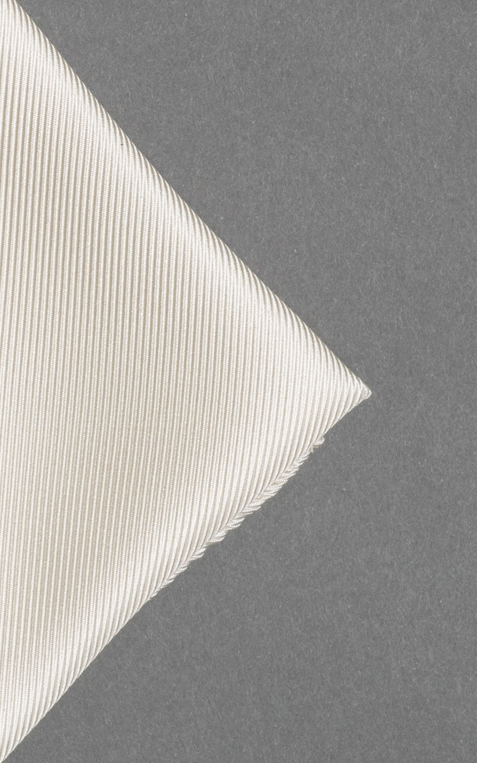 White Woven Twill Silk Pocket Square