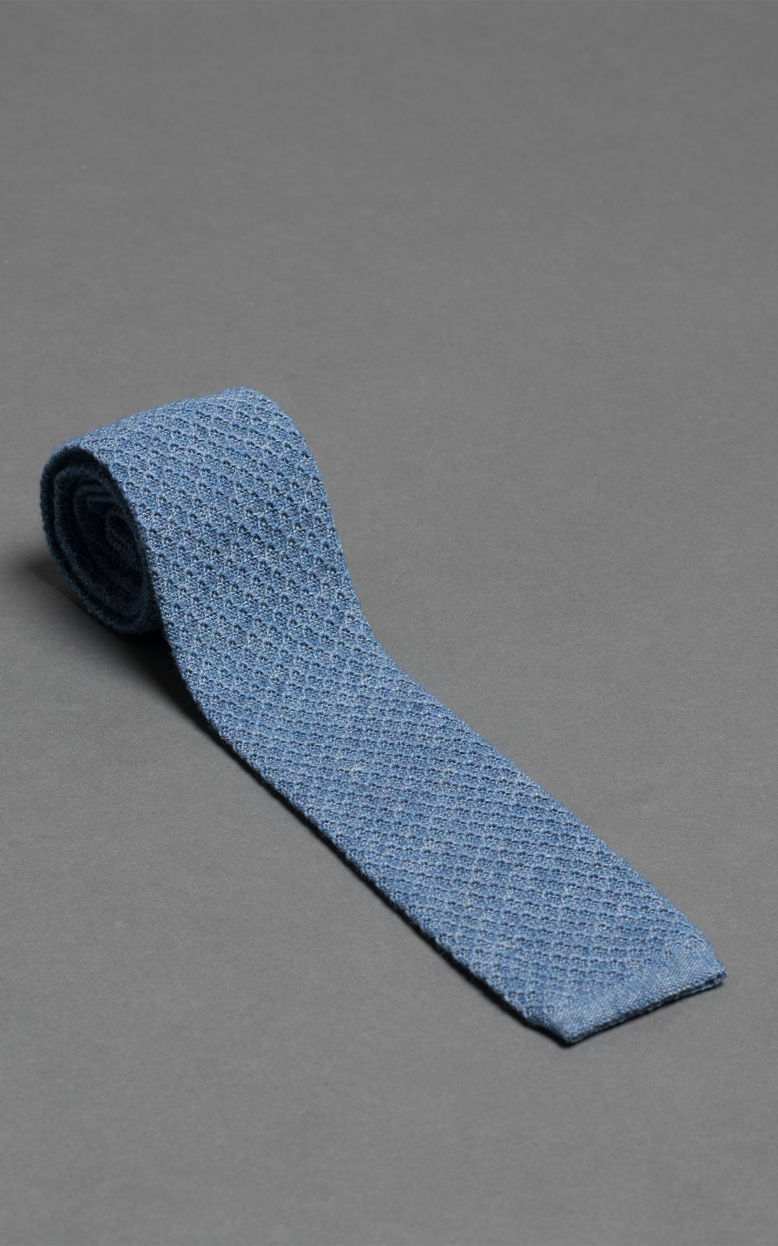 Blue Knitted Cotton Tie