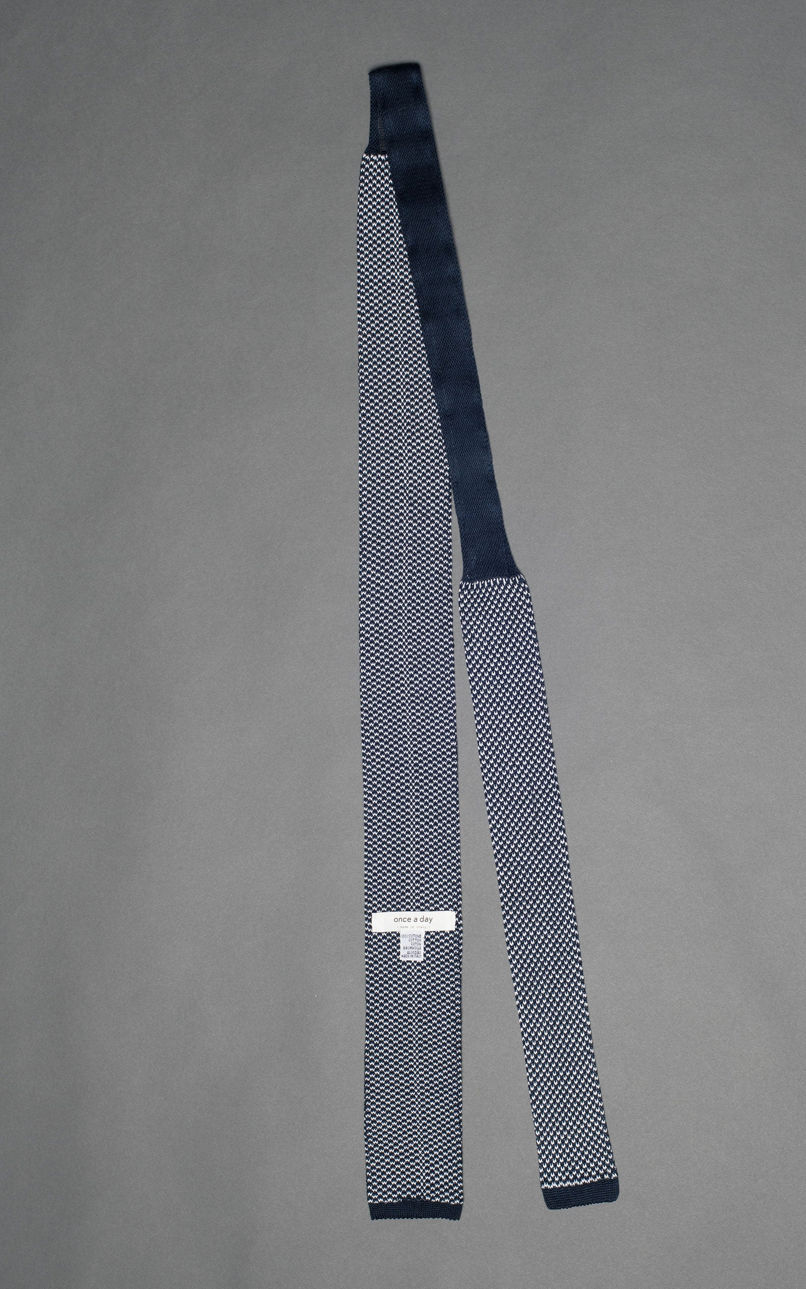 Navy Noise Knitted Cotton Tie