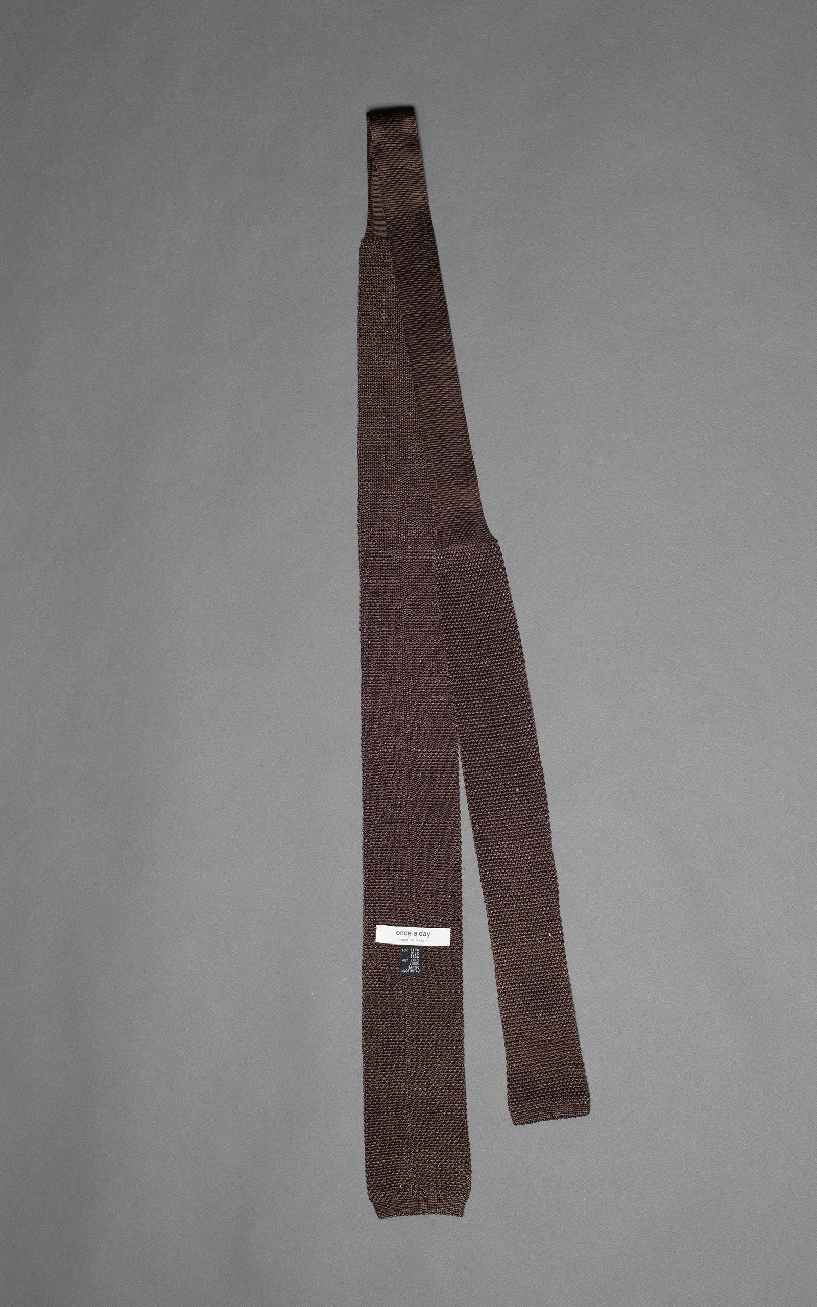 Brown Melange Silk Linen Knitted Tie