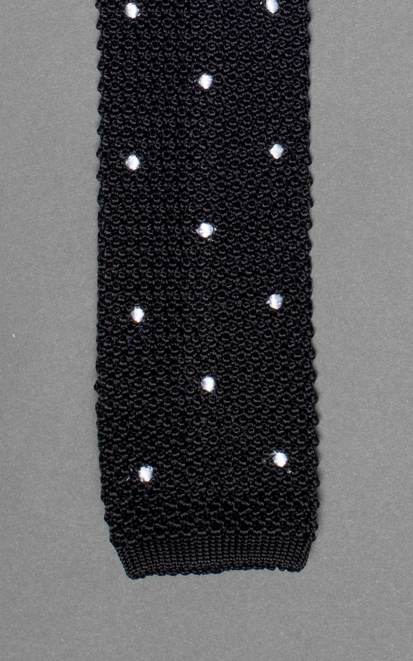 Black With White Polka Dots Knitted Silk Tie