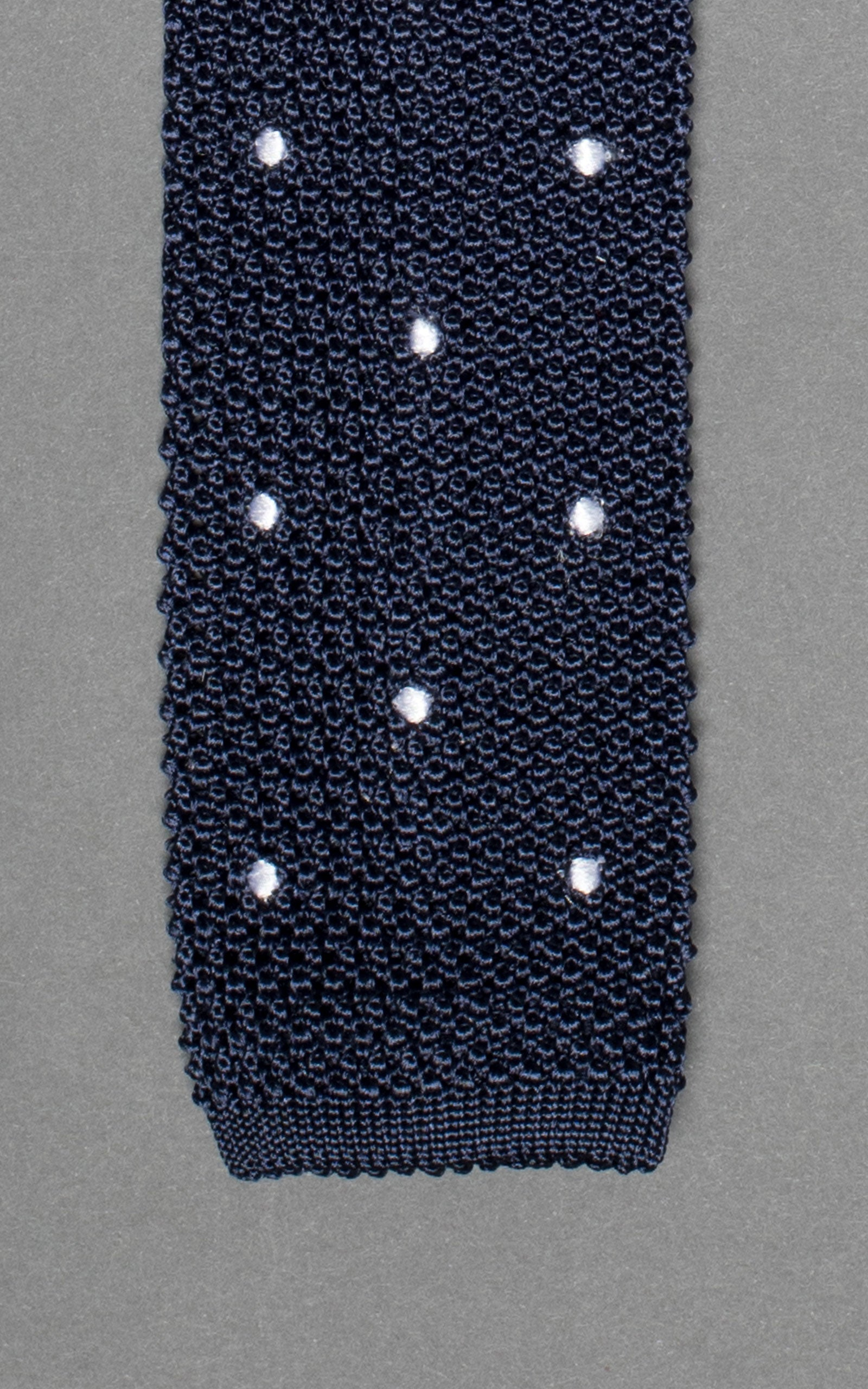 Navy With White Polka Dots Knitted Silk Tie