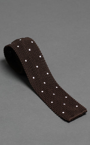 Brown With White Polka Dots Knitted Silk Tie