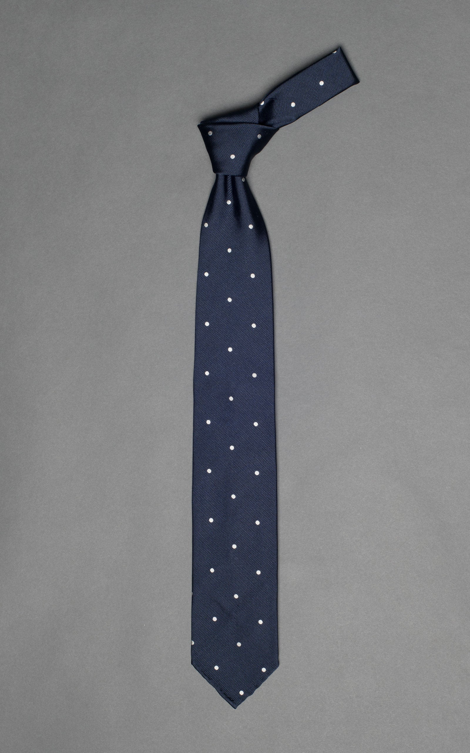 Navy 7-Fold Woven Twill Untipped Silk Tie