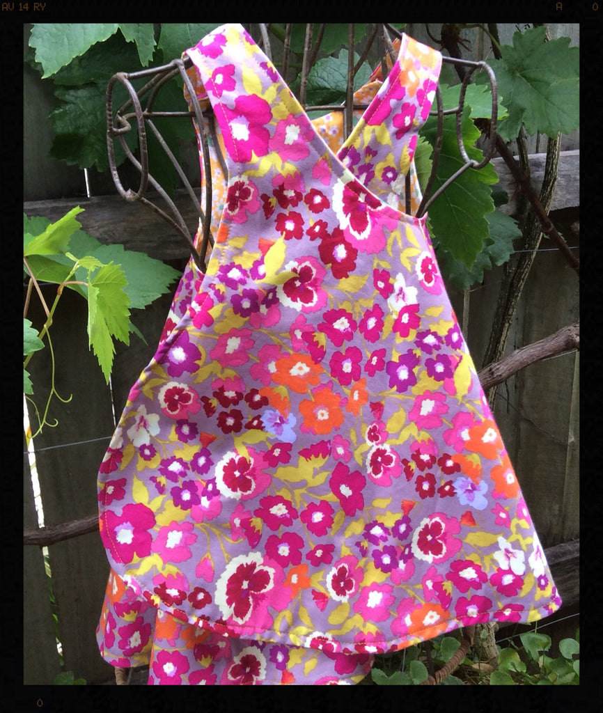 Reversible Dress Pinafore  Small Flowers Pattern Size1-2