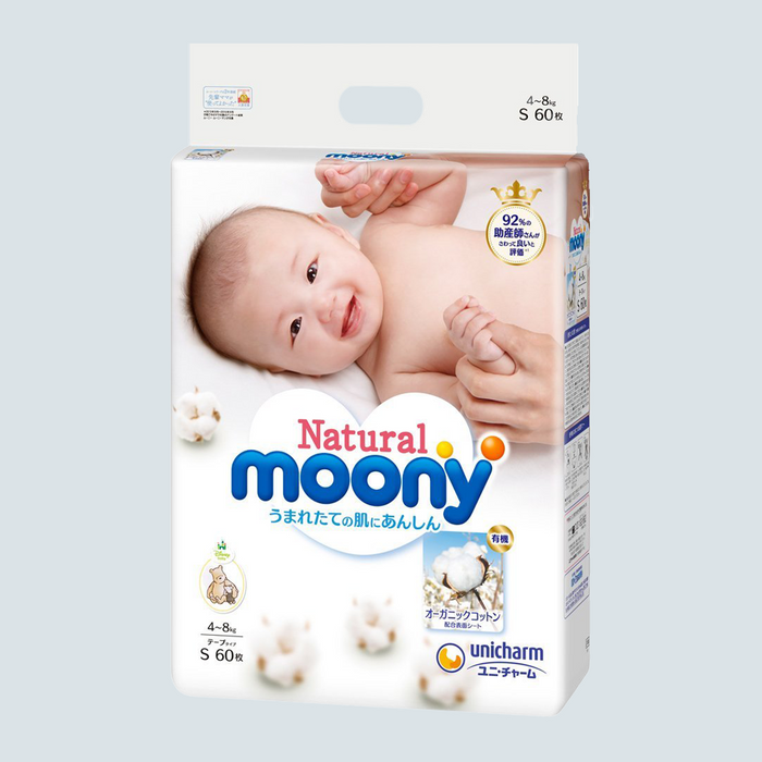 Moony Natural Baby Diaper Size S 60pcs