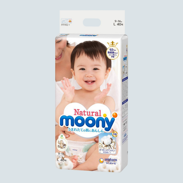 Moony Natural Baby Diaper Size L 40pcs