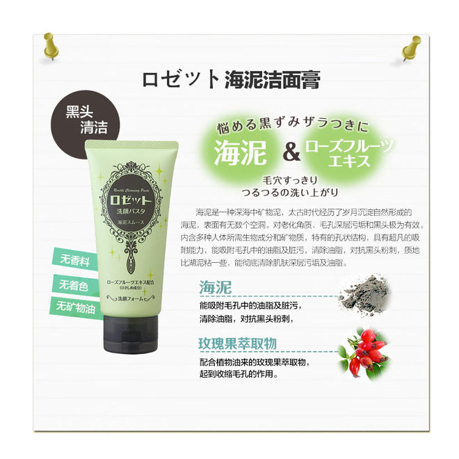 Rosette Cleansing Paste Sea Mud for Pore Care 120g with Rose fruit extract