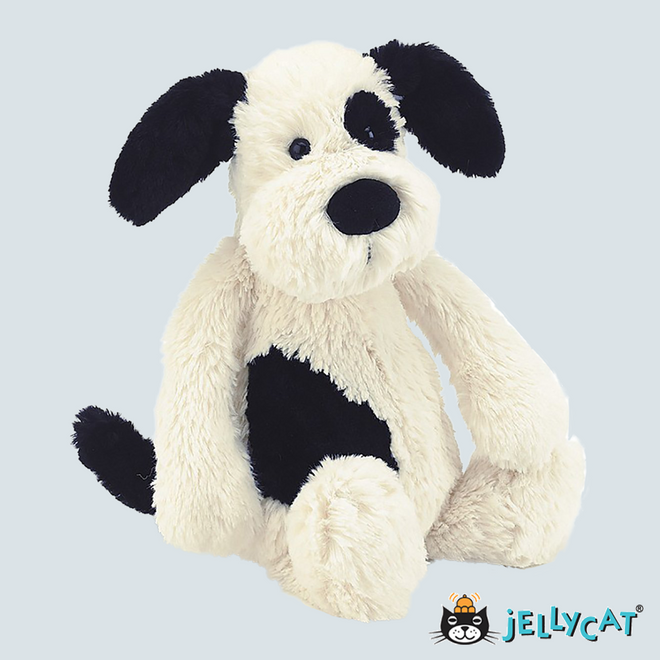 "Bashful Puppy Black & Cream  Medium 12"" 30cm"