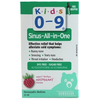 Homeocan Kids 0-9 Sinus-All-in-One With Dropper  Raspberry Flavour 25 mL