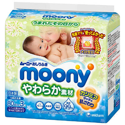 Moony Baby Wipe 99% Water Content Refill 240 pcs