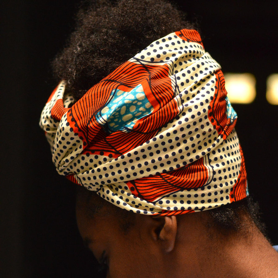 Cosmos | Flame-Headwrap-Ankara Crowns-the wrap life-head scarf-brooklyn-african print-turban- fanm djanm- cee cees closet - head wrap